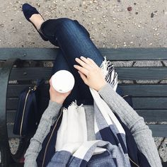 Perfect fall outfit in shades of grey & blue - Gap plaid scarf and J.Crew skinny jeans (College Prepster)