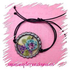 pulsera flor azul
