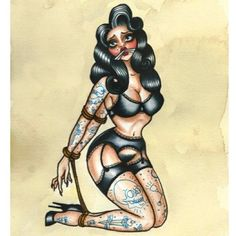 I like the bondage part, and her body Pin Up Girl Tattoo, Pin Up Tattoos, Love Tattoos, New Tattoos, Girl Tattoos, Neo Traditional Tattoo, American Traditional, Tattoo Drawings, I Tattoo