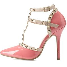 Charlotte Russe Blush Studded Strappy Pointed Toe Pumps by Charlotte... ($43) ❤ liked on Polyvore featuring shoes, pumps, blush, t strap pumps, pointy toe pumps, studded pointed toe pumps, dorsay pump en charlotte russe shoes