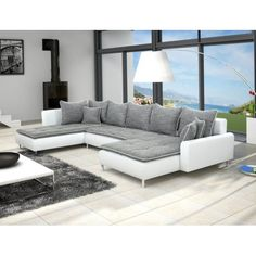 Canapé d angle en PU blanc et tissu gris DUCCIO 2
