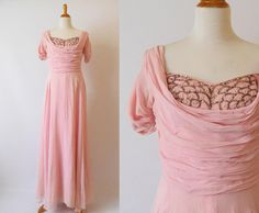 Vintage 1940's  Pink Sheer Evening Dress with Crumb Catcher Embellished with Sequins and seed Pearls by GracedVestige on Etsy