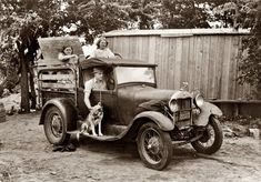 California bound ~ July 1939 near Muskogee, Oklahoma. Elmer Thomas at the wheel. Ready to depart for the journey to California. Russell Lee photographer.