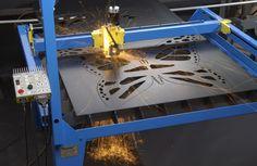 Metal Art Butterfly being cut out on PlasmaCAM cnc plasma cutting machine.