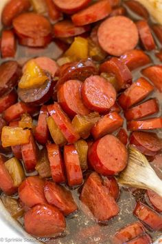 Glazed Hawaiian Kielbasa - Sprinkle Some SugarYou can find Kielbasa recipes for dinner and more on our website.Glazed Hawaiian Kielbasa - Sprinkle Some Sugar Pork Recipes, Slow Cooker Recipes, Cooking Recipes, Crockpot Keilbasa Recipes, Kielbasa Crockpot, Kilbasa Sausage Recipes, Recipies, Grilling Recipes, Potato Recipes