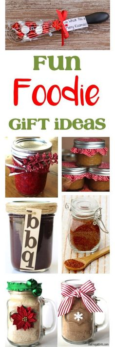 Fun Foodie Gift Ideas and Homemade Gifts for the Foodies on your list!  These make such great Christmas Gifts in a Jar, Stocking Stuffers, and fun gifts for Co-Workers! | TheFrugalGirls.com