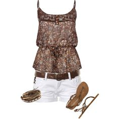 summer shorts by daisy-weber on Polyvore  Could also pair it with cowgirl boots