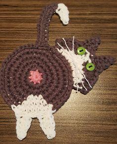 Learn To Crochet | Upper Crust Crochet | Peeking Cat Butt Coaster