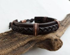 Braided Leather Bracelet, Leather and Copper Bracelet, Men's Leather Bracelet, Mens Copper Bracelet, ColeTaylorDesigns