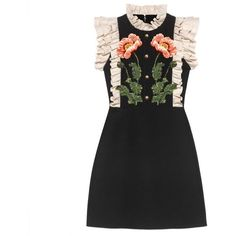 Gucci Floral Embroidered Wool Silk Dress (55,725 MXN) ❤ liked on Polyvore featuring dresses, floral pattern dress, silk embroidered dress, embroidery dress, gucci dress and applique dress