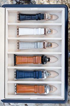 The Longvadon Collector's Box was designed to not just perfectly fit your entire Longvadon Apple Watch band collection, but to look gorgeous while safely storing all your bands for years to come. Apple Watch Leather, Leather Watch Bands, Apple Watch Accessories, Leather Accessories, Apple Watch Series 3, Apple Watch Bands, Brown Aesthetic, Ipad Air Case, Elegant Christmas