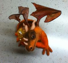OOAK Needle Felted dragon with treasure by AmandaKaeCreations, $55.00