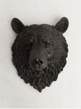 The Nordi   Bear Head   Faux Taxidermy   Black Resin