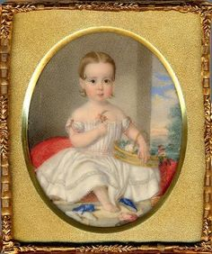 19th C American Portrait Miniature Of An Angelic Blond Young Girl By John Carlin
