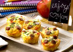 """Amazing Muffin Cups Recipe: """"Weekday breakfasts just got easier. Fill your kids up before sending them off to school with these fun-sized quiches made with hashbrowns, eggs and delicious Johnsonville Breakfast Sausage. What's For Breakfast, Breakfast Items, Breakfast Dishes, Breakfast Recipes, Breakfast Muffins, Egg Muffins, Breakfast Casserole, Breakfast Sausages, Breakfast Cupcakes"""