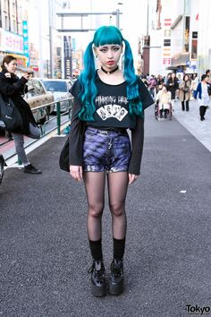 Blue Twintails Hairstyle, Psycho Apparel & Tokyo Bopper in Harajuku