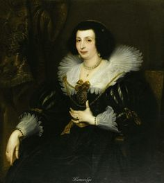 Portrait of Anna Maria de Camudio, 1630.  SIR ANTHONY VAN DYCK (Flemish 1599 - 1641).    Oil on canvas.  42-1/2 x 38 inches.  Inscribed on chair, 1630