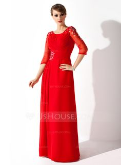 A-Line/Princess Scoop Neck Floor-Length Chiffon Tulle Mother of the Bride Dress With Ruffle Beading Sequins (008005752)
