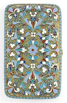A RUSSIAN SILVER-GILT AND CLOISONNE ENAMEL CIGARETTE CASE  MARK OF IVAN SALTYKOV, MOSCOW, 1893http://www.christies.com/