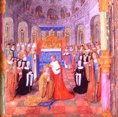 Couronnement d'Anne de Bretagne, 15°s. - De retour à Lyon le 23 avril 1500, George d'Amboise reçoit du roi le comté de Lomello. Au début de 1501, il est de retour en Italie pour la conquête de Naples. Il est ambassadeur en aout 1501 à Tente. Il couronne le 18 nov 1504 Anne de Bretagne reine de France à St-Denis. Il préside en mai 1506 les Etats Généraux tenus au château de Plessis-les-Tours. Il signe le 10 déc 1508 le traité de la ligue de Cambrai.