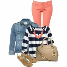 Stripes and peach jeans...