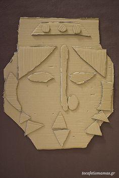 Πρόσωπα από χαρτόκουτα. - To Cafe tis mamas Arrow Necklace, Diy Crafts, Diy Home Crafts, Do It Yourself Crafts