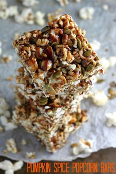 Snacking for the win: Healthy Pumpkin Spice Popcorn Bars