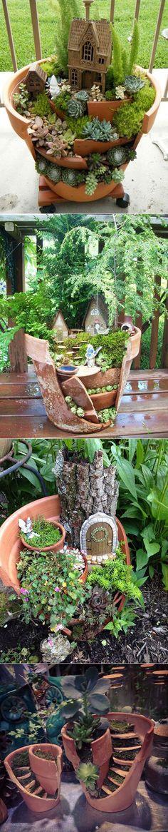 A nova tendência: miniaturas jardim de vasos de flores quebrados