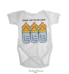 Baby Boy Clothes, Baby Boy Gift, Baby Boy Shirt, Newborn Boy, Boy Clothing, Boy Shower Gift, Funny Baby Boy Clothes, Funny Boy Clothing  Check Out My Six Pack This funny baby boy clothing features a cute pun with a six pack of bottles. Makes a funny baby boy gift for a newborn boy up to 4t and is sure to be a favorite boy shower gift! This is also available as a baby boy shirt.
