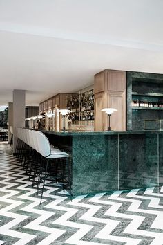 Located along the Champs-Élysées in Paris, Maison du Danemark has recently been renovated to include two exquisite new restaurants. On the g... Showroom Design, Bar Interior Design, House Bar Design, Restaurant Interior Design, Bar In House, Cafe Design, Back Bar Design, Luxury Interior, Gray Interior