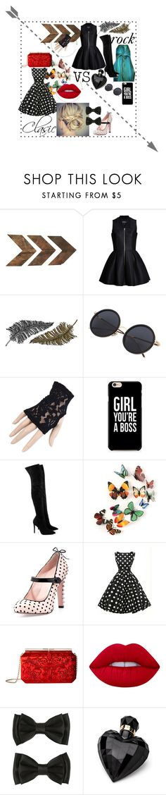 """""""rocj vs clasic"""" by sandra-ballegooijen ❤ liked on Polyvore featuring WALL, Lavinia Cadar, Paperself, Black, Kendall + Kylie, RED Valentino, Oscar de la Renta, Lime Crime and Lipsy"""