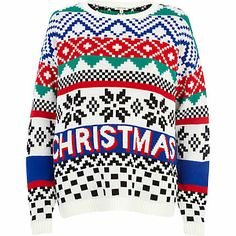Get into the festive spirit with this vintage-inspired white Christmas fair isle jumper! #riverisland #christmascracker #noveltyknits