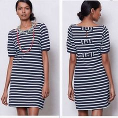 Triple bow backed stripe dress  EUC. Worn, but still in great condition! Baby blue and seafoam stripes with 3 bows down the upper back of the dress. Easy to wear to work or around town. Anthropologie Dresses Midi