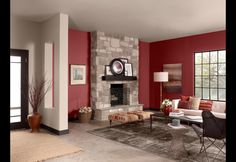 Red Living Room with white, gray, and black accents.
