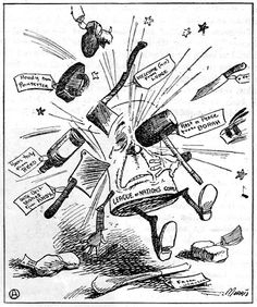 Political cartoon of the League of Nations showing the many conflicts that were taking place within the league.