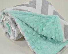Minky Baby Blanket - Silver and White Chevron Minky - Opal Minky Dimple Dot - Double Minky Blanket - Baby Size 29x35