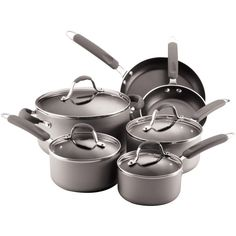 Farberware 10-Piece Nonstick Cookware ($90) ❤ liked on Polyvore featuring home, kitchen & dining, cookware, no stick frying pan, non-stick cookware, non-stick fry pan, farberware skillet and nonstick skillet