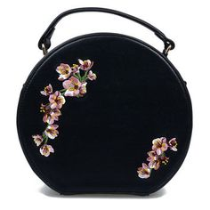 Black & Pink Floral Embroidered Handbag and other apparel, accessories and… Pink Handbags, Purses And Handbags, Ladies Handbags, Chanel Handbags, Polka Dot Purses, Circle Purse, Cute Bags, Black Purses, Fashion Bags