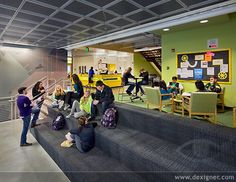 Image 5 of 9 from gallery of Marysville Getchell High School / DLR Group. Photograph by DLR Group Learning Spaces, Learning Environments, Classroom Design, School Classroom, University Architecture, Colour Architecture, 21st Century Learning, School Opening, Library Design