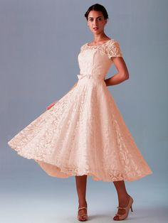 Pin to Win a Wedding Gown or 5 Bridesmaid Dresses! Simply pin your favorite dresses on www.forherandforhim.com to join the contest! | Lace Dress with Short Sleeves $239.99