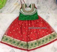 Red and Green Cut work Lehenga - Indian Dresses
