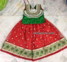Red and Green Cut work Lehenga - Indian Dresses