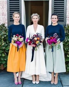 "The bride was flanked by her sister, Megan (left), and the groom's sister, Alexandra, who wore navy cashmere sweaters, custom silk faille skirts, and suede pumps. All three carried bouquets that featured tree peonies, ranunculus, and heirloom garden roses by Brrch.     As for Sarah, she went the semi-custom route too. ""I tried on a few things at a salon with my sister and mom,"" says Sarah, ""but I wanted something simpler."" Enter Delphine Manivet: At her showroom in New York, Sarah f..."