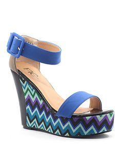 This Royal Blue & Gray Zigzag Wren Platform Wedge is perfect! #zulilyfinds