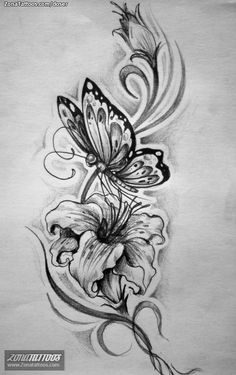 Design of Insects, Flowers, Butterflies Rose And Butterfly Tattoo, Daffodil Tattoo, Lily Flower Tattoos, Butterfly Drawing, Butterfly Tattoo Designs, Cute Tattoos, Beautiful Tattoos, Body Art Tattoos, Leg Tattoos