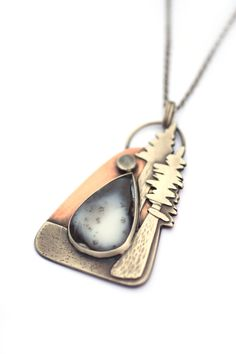 Mixed Metal Necklace, Redwood Coast, Sterling Silver, Moonstone and Dendritic Opal Pendant, Nature Jewelry, Copper and Silver Necklace by ErinAustin on Etsy https://www.etsy.com/listing/525838311/mixed-metal-necklace-redwood-coast