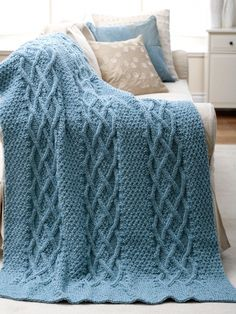 Cushy Cables Afghan | Yarn | Free Knitting Patterns | Crochet Patterns | Yarnspirations
