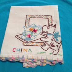 Handmade towel with scottie dog ~ this is the cutest little towel :)