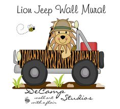 Lion Jeep Mural Wall Decal for baby boy transportation car nursery or children's jungle safari room decor. This unique, one of a kind wall mural is high quality with bright vivid colors. Easy to install #decampstudios