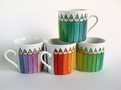 Items similar to rainbow espresso coffee cup, hand painted, coloured pencils espresso cup on Etsy These cheerful hand-painted mugs would be a perfect gift for a teacher. Painted Coffee Mugs, Hand Painted Mugs, Painted Cups, Hand Painted Ceramics, Sharpie Crafts, Sharpie Art, Sharpies, Pottery Painting, Ceramic Painting